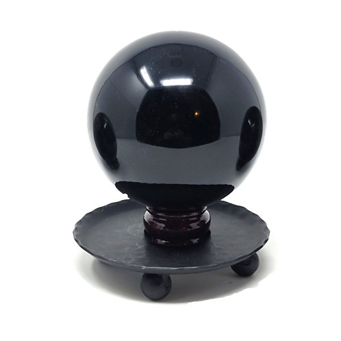 "Natural Obsidian Sphere Showpiece - Powerful Scrying, Protection, Healing (4"")"