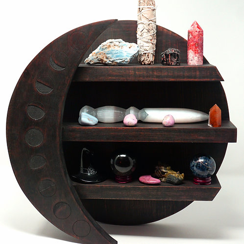 Phases of the Moon Wooden Crystal Moon Shelf Crafted From Dark Acacia Wood