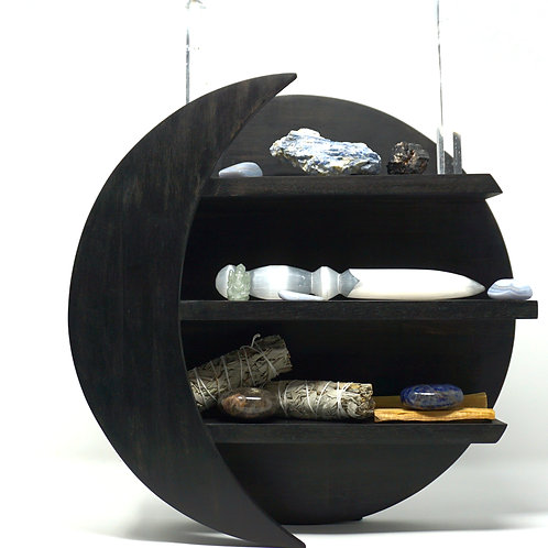 Acacia Wood Moon Shelf For Storing Crystals, Bottles, and More (Antique Black)