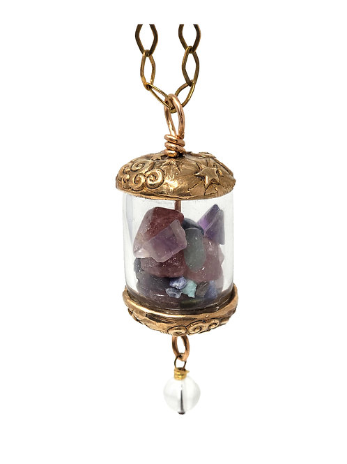 Celestial Capsule Necklace for Protection, Grounding and Calming