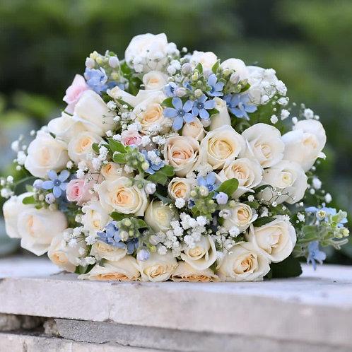 זר כלה פרחים לבנים וטווידה