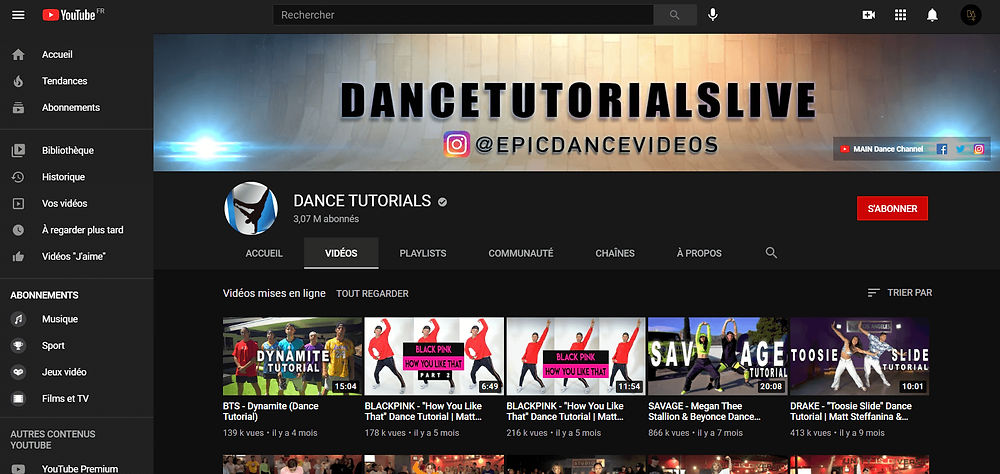 Dance tutorials live