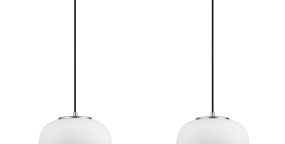 DOSEI 2/S Colgante de 2 Luces Pantalla de Vidrio Opalino soporte de pan de plata