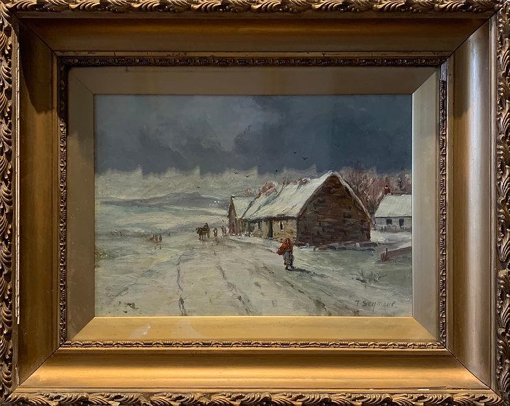 Farm Scene in Snow