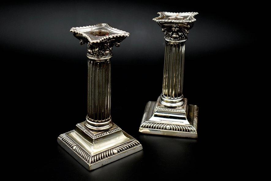 Pair Corinthian Column Candlesticks
