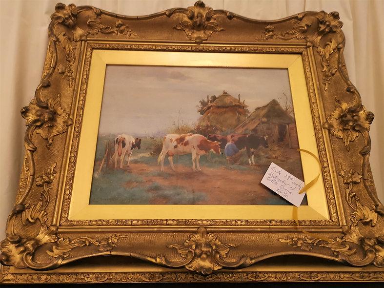 Watercolour Cow Scene (Late 19th Century)