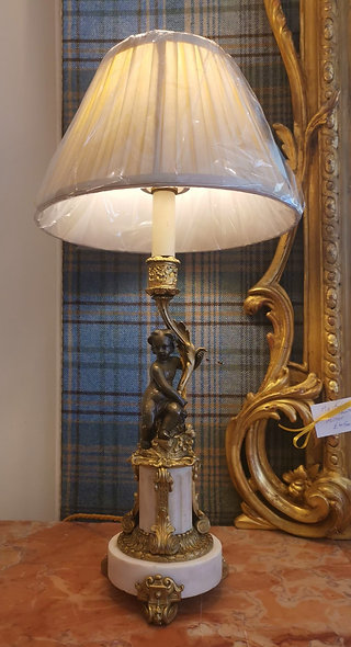 Pair Gilt & Marble Lamps