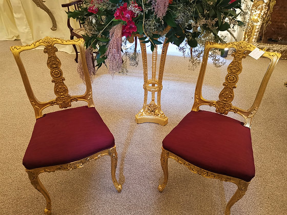 Pair Gilt Side Chairs