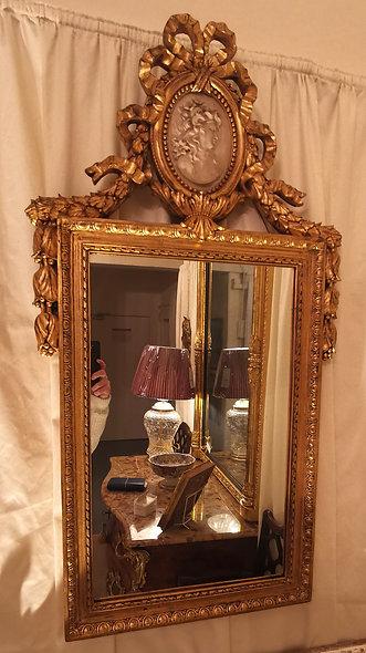 Gilt Frame Mirror with Cameo Panel