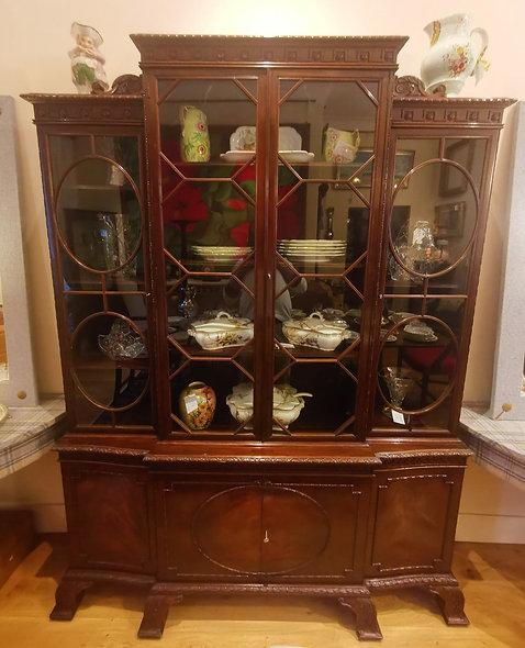 Mahogany Breakfront Bookcase/Display Cabinet