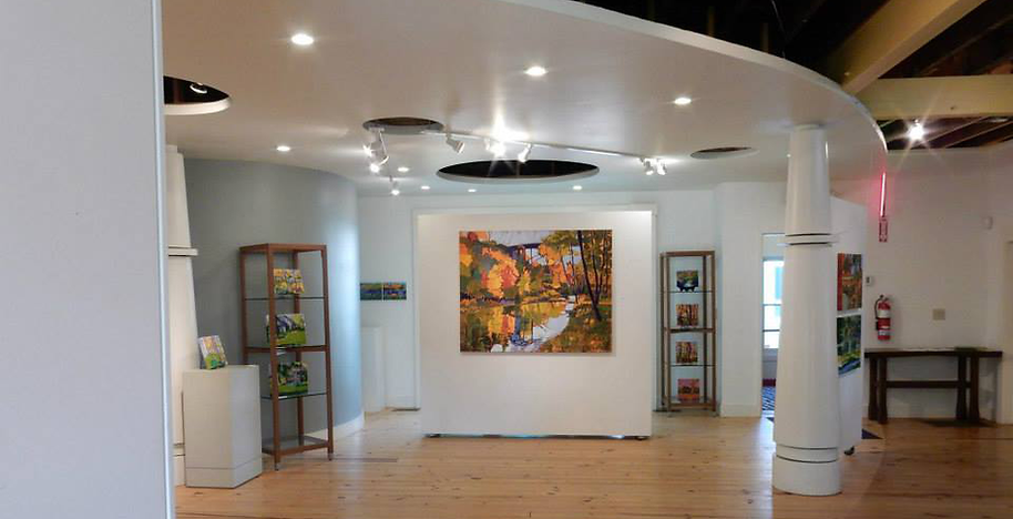 """BAYarts Sullivan Family Gallery in the Fuller House.My solo exhibition: """"Painting the Metroparks"""""""