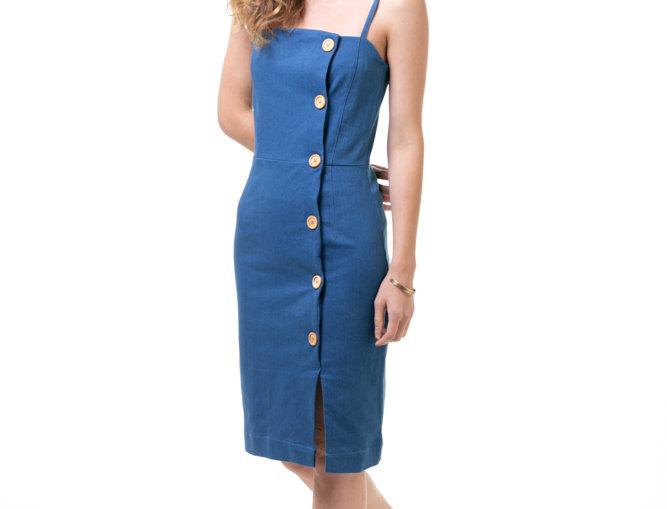 Square Neck Button Dress