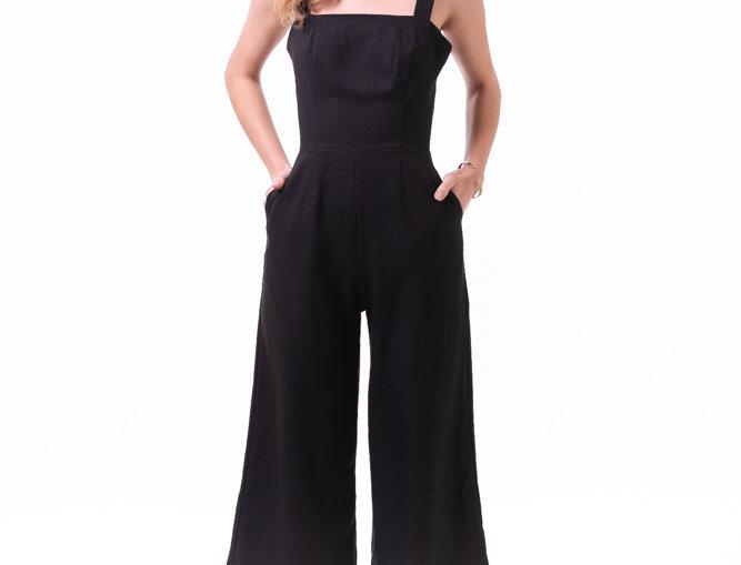3/4 Tie Back Jumpsuit - Black