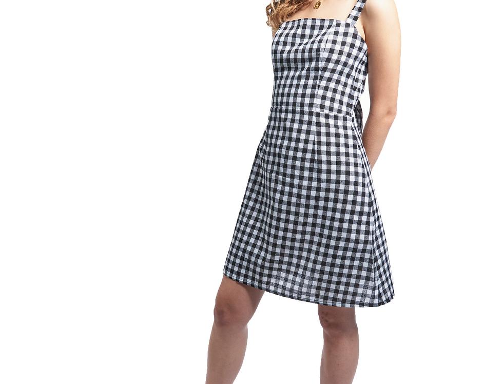 Tie Back Dress - Linen Gingham