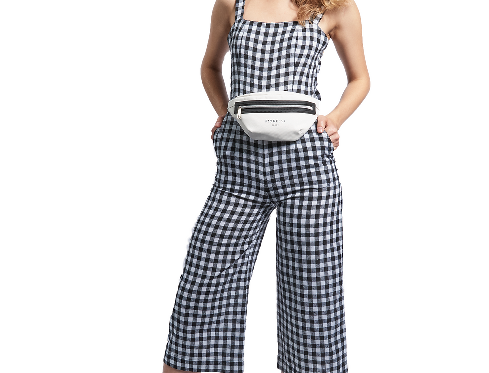 3/4 Tie Back Jumpsuit - Linen Gingham