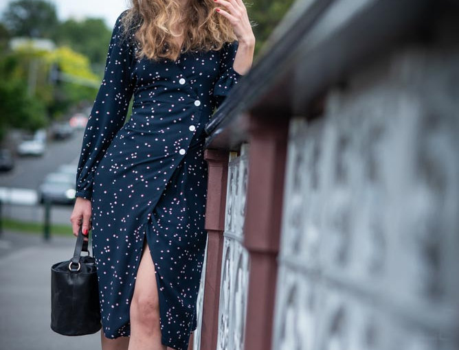 Long Sleeve Button Wrap Dress