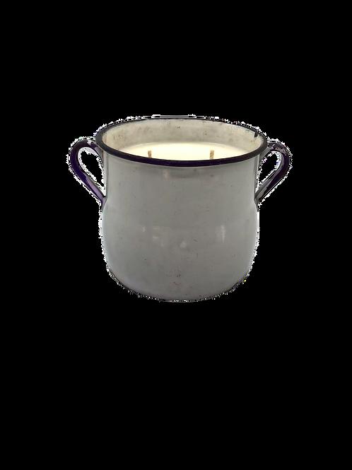 Vintage Enamel Sugar Pot 2 Wick Soy Candle | Meyer Lemon Cucumber