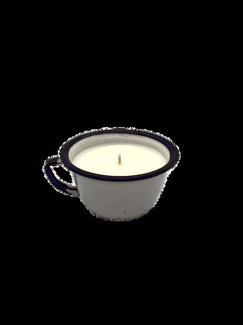 Vintage Enamel Cup Soy Candle | Oakmoss + Lavender