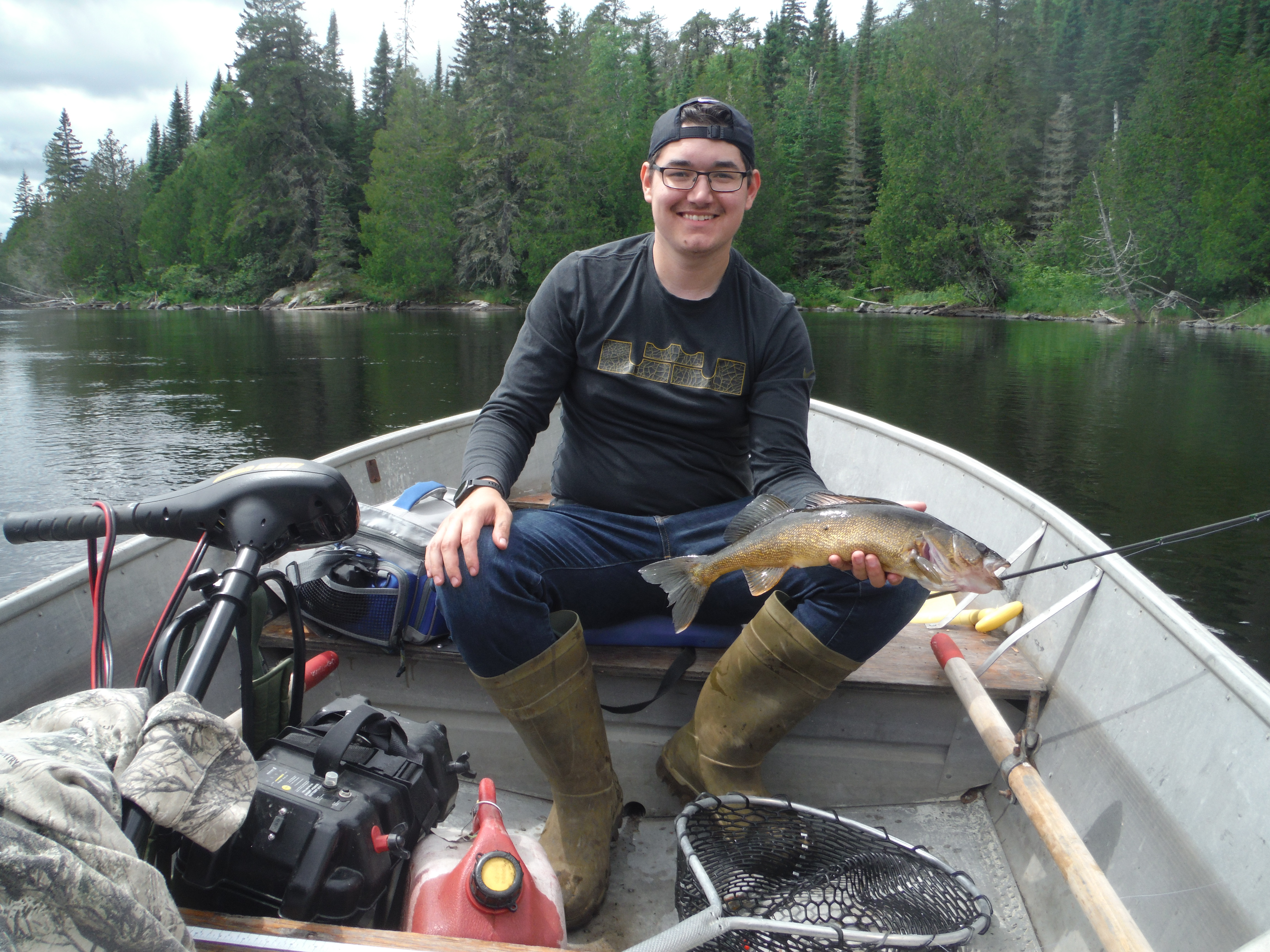 Patrick with Walleye on portage 2020