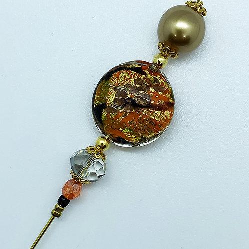 Fibule perle de Murano, noir, orange et or