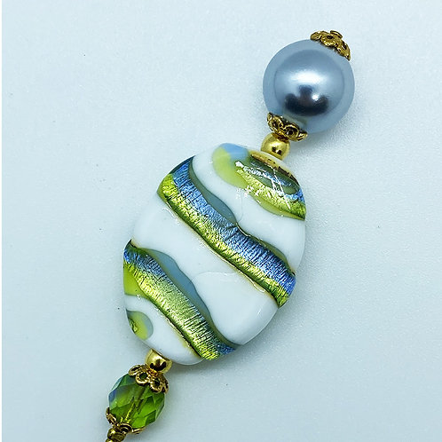 Fibule perle de Murano, vert, bleu blanc