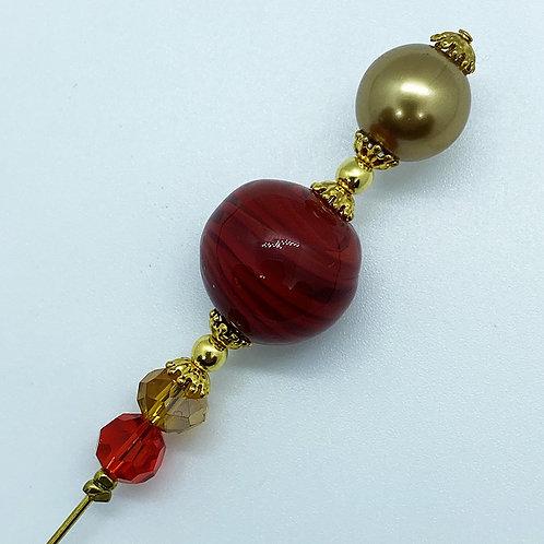 Fibule verre de Murano, harmonie de rouge et or