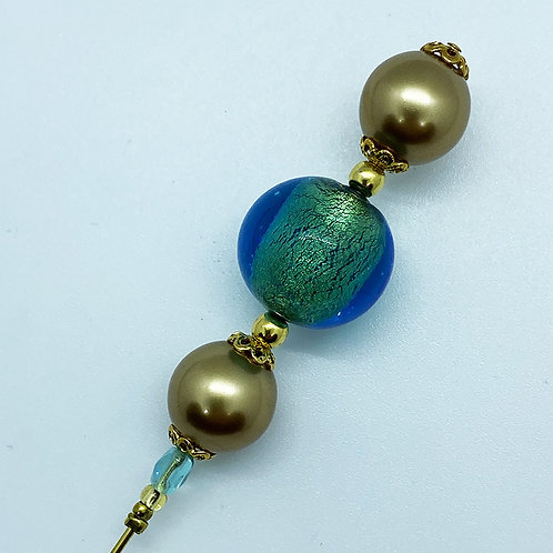 Fibule verre de Murano, harmonie de turquoise et or