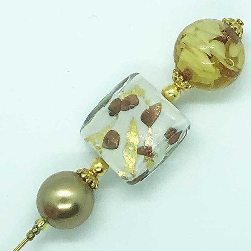 Fibule perles en verre de Murano couleur ambre. Transparence, feuille d'or