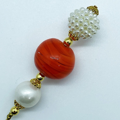 Fibule verre de Murano, harmonie de orange et blanc