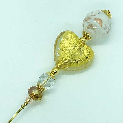 Fibule perles de Murano, harmonie de doré et de transparence