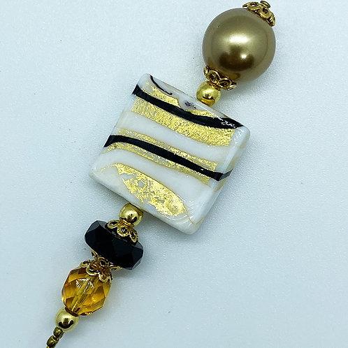 Fibule verre de Murano, harmonie blanc, noir et or