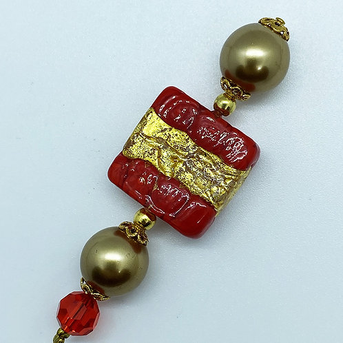Fibule verre de Murano, harmonie rouge et or