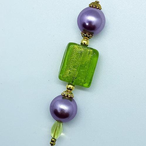 Fibule perle de Murano, vert pomme et parme