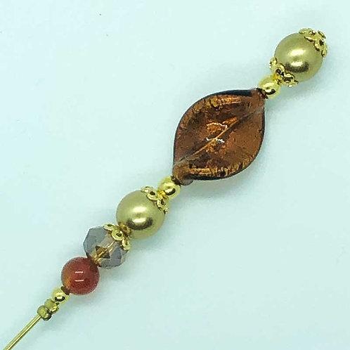 Fibule perle de Murano, chocolat, ambre et doré
