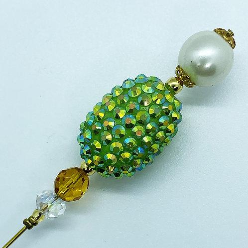 Fibule perle strass vert pomme. Perle en résine