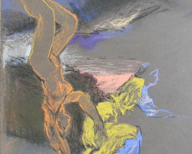 mythologies, pastel sur papier