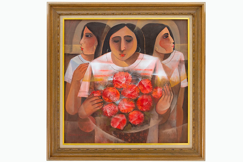 Ladies with red flowers