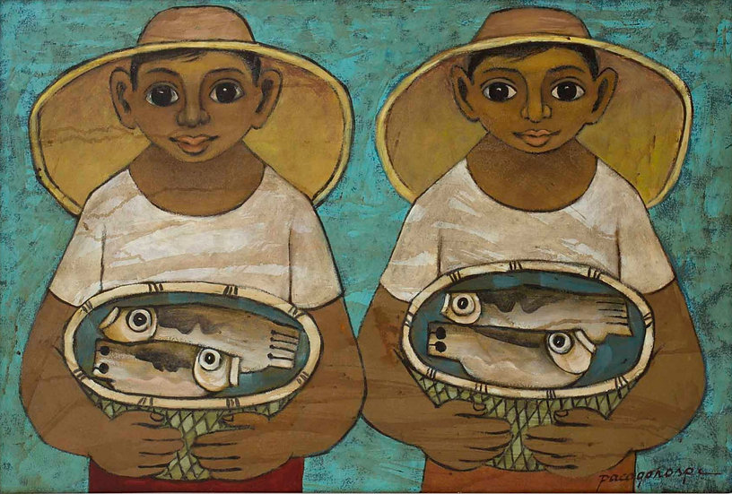 """Two Boys with Fishes - Francisco """"Paco"""" Gorospe"""