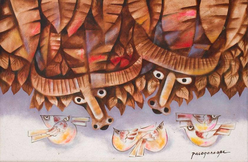 "Two Carabao and six birds - Francisco ""Paco"" Gorospe"
