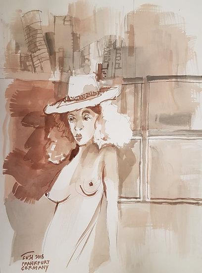 Lady with hat in Frankfurt - Rafael Popoy Cusi