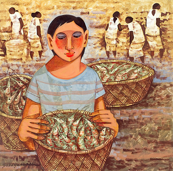 """Woman with Scampis - Francisco """"Paco"""" Gorospe"""