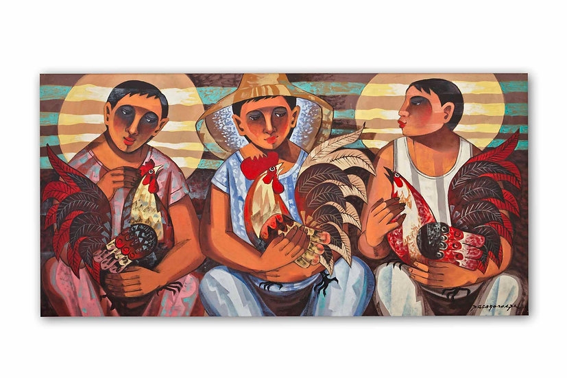 Three Men with Roosters