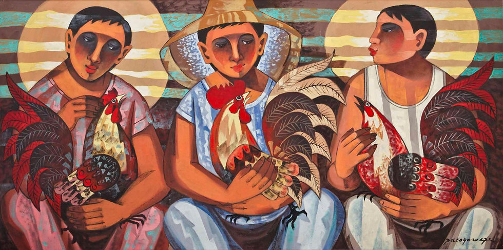 """Three men with Roosters - Francisco """"Paco"""" Gorospe"""