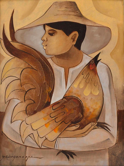 """Man with Rooster - Francisco """"Paco"""" Gorospe"""