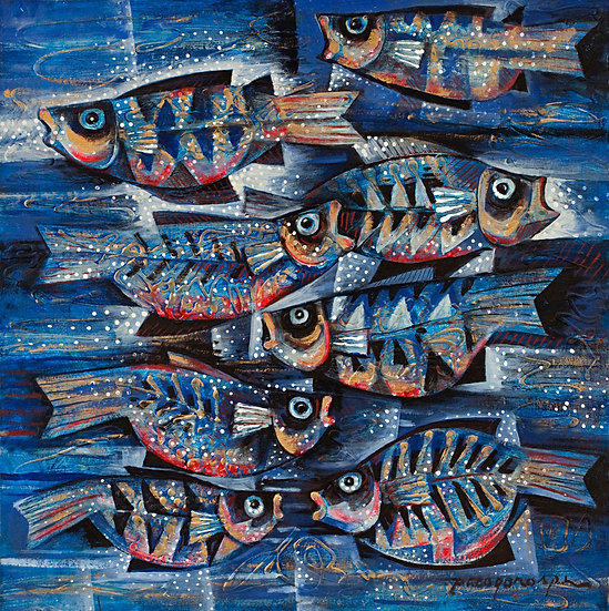 """Fishes in blue - Francisco """"Paco"""" Gorospe"""