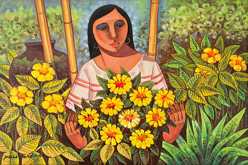 """Lady with flowers - Francisco """"Paco"""" Gorospe"""