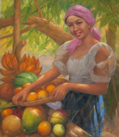 Lady with Fruits - Oscar Ramos