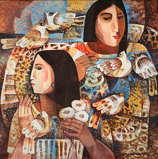 """Ladies with Birds - Francisco """"Paco"""" Gorospe"""
