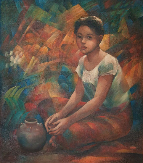 Young woman sitting with jar - Roger San Miguel