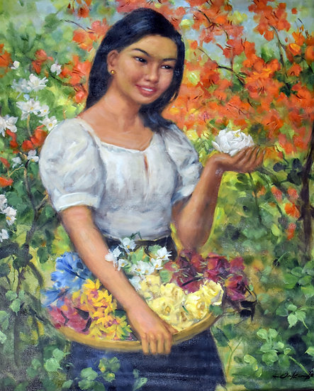 Lady with colourful flowers- Oscar Ramos